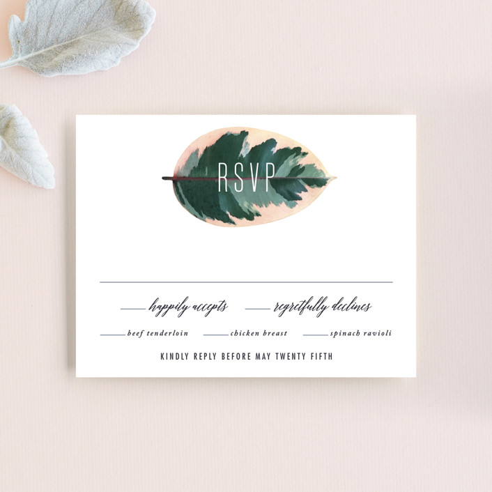 """""""Painterly Plant"""" - Rsvp Cards in Midnight by Hooray Creative."""