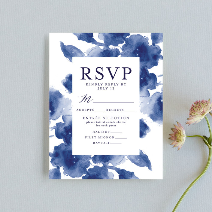 """Cornflower Wedding"" - Rsvp Cards in Periwinkle by Chris Griffith."