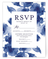 This is a blue rsvp card by Chris Griffith called Cornflower Wedding with standard printing on signature in standard.