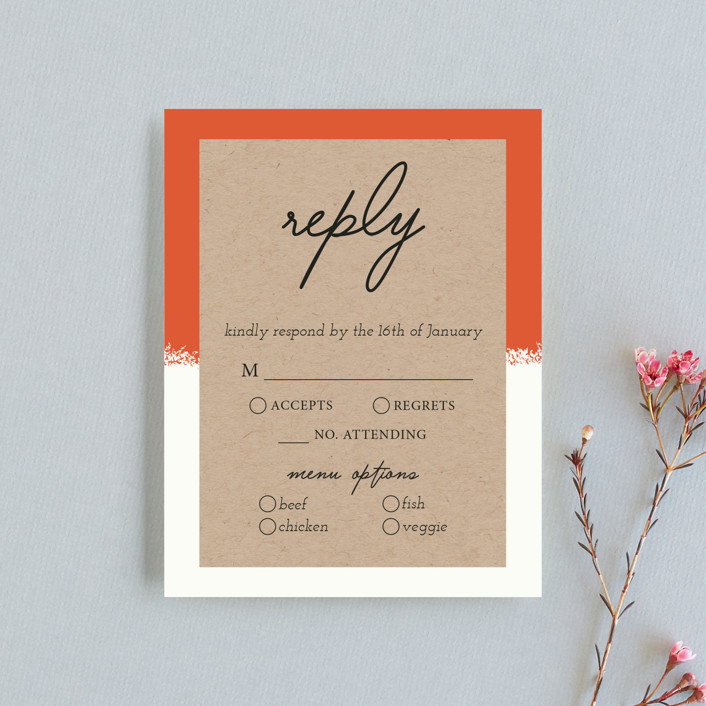 """""""Joyfully Ever After"""" - Rsvp Cards in Tangerine by Faiths Designs."""