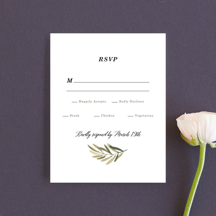 """Olive Branch"" - Rsvp Cards in Olive by Wildfield Paper Co.."