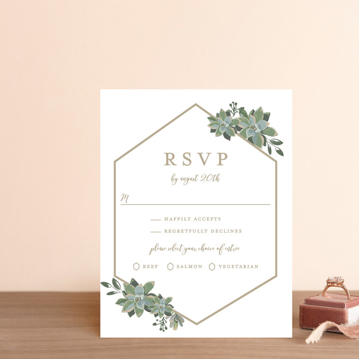 """""""Succulent Surround"""" - Rsvp Cards in Cloud by Susan Moyal."""