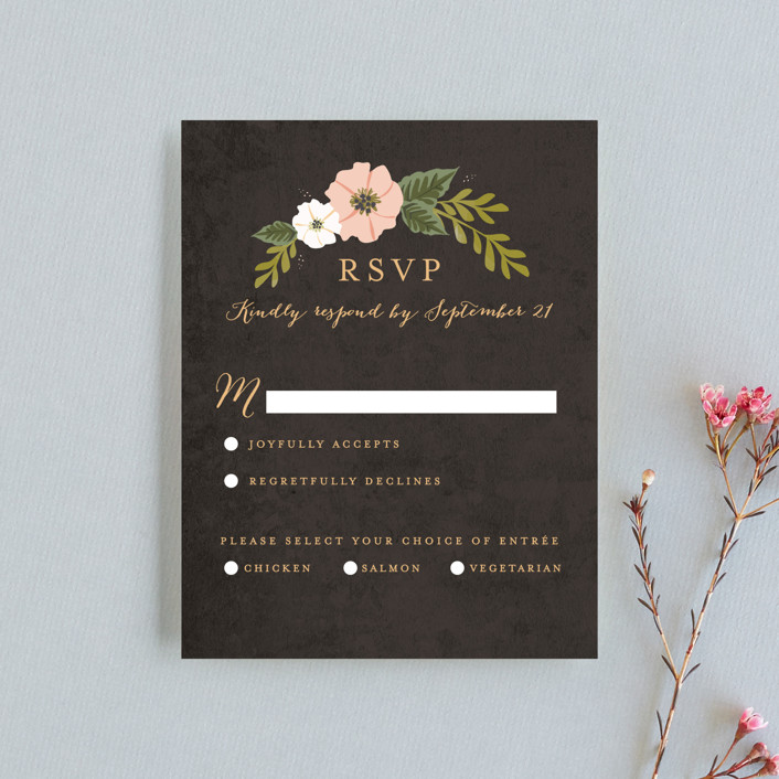 """""""Floral Ring"""" - Rsvp Cards in Charcoal by Karidy Walker."""