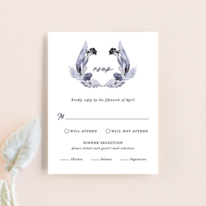 """""""feathers & florals"""" - Bohemian Rsvp Cards in Dusk by Olivia Raufman."""