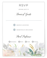 This is a grey rsvp card by Bonjour Paper called Grande Botanique with standard printing on signature in standard.