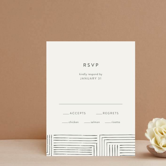 """Pattern Play"" - Modern Rsvp Cards in Pebble by Seven Swans."