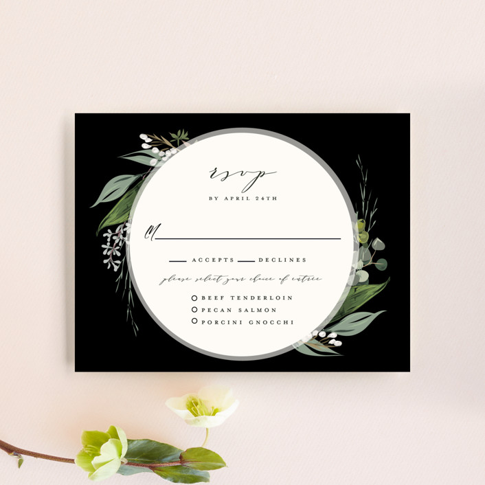 """Natures Greens"" - Rsvp Cards in Ivory by Susan Moyal."