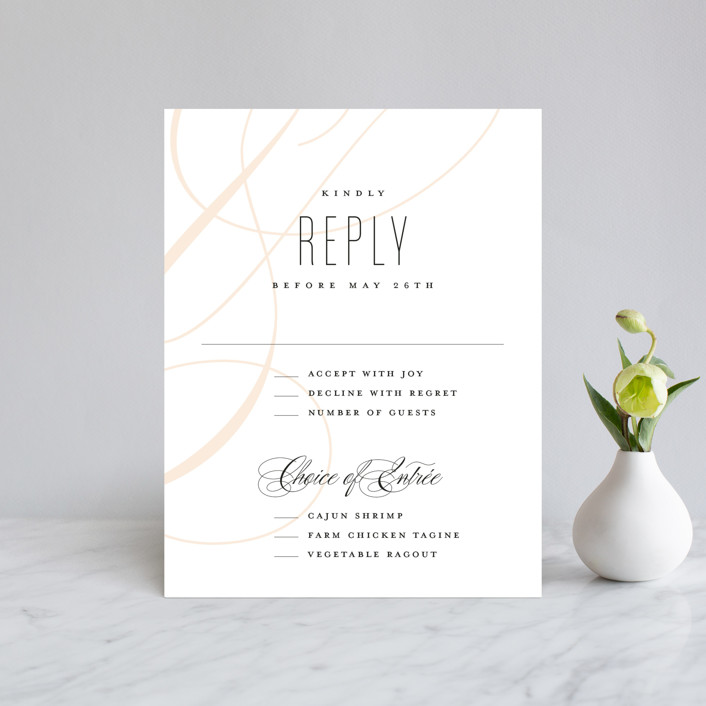 """""""Today & Always"""" - Rsvp Cards in Peach by Stacey Meacham."""