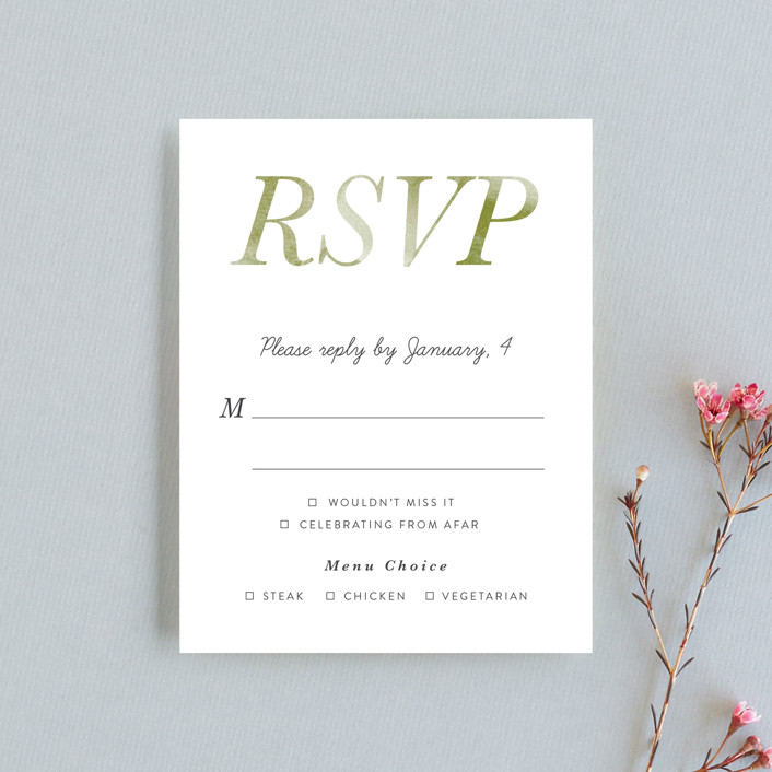 """Watercolor Leaf"" - Rsvp Cards in Porcelain by Johanna McShan."