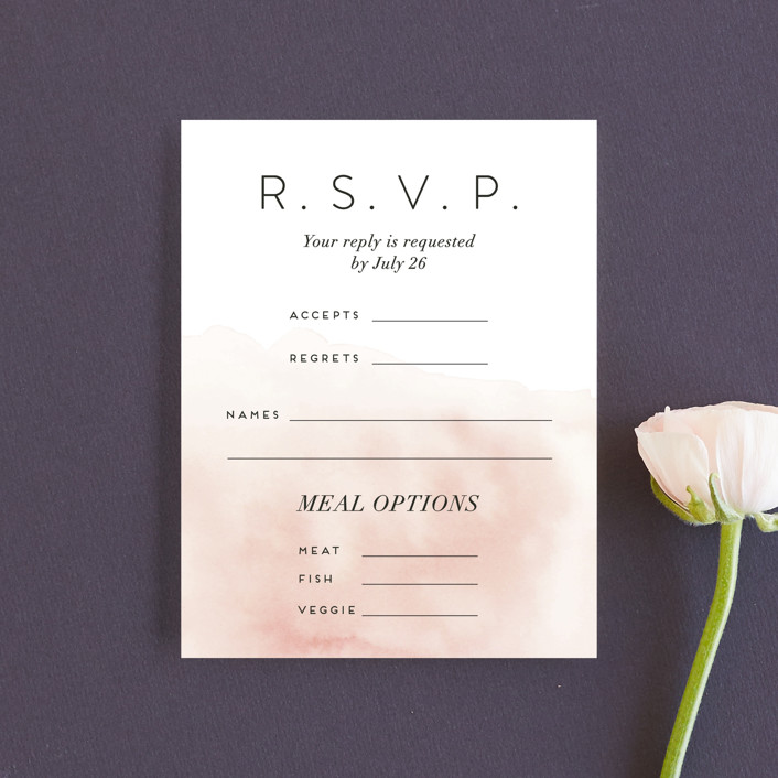 """Ethereal Bouquet"" - Rsvp Cards in Blush by Petra Kern."