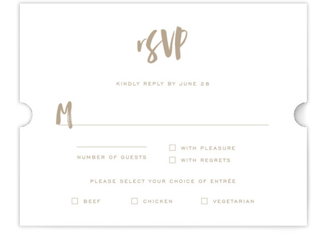 This is a bold and typographic, simple and minimalist, brown RSVP Cards by Design Lotus called Love Actually with Standard printing on Signature in Card Flat Card format. Modern brush calligraphy type with fresh layout for the modern couple