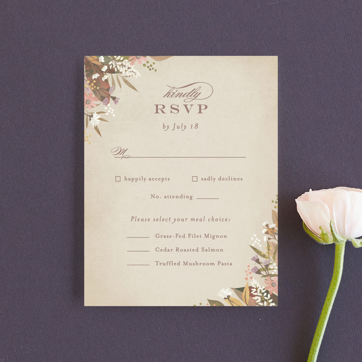 """turning leaves"" - Rsvp Cards in Champagne by Jennifer Wick."