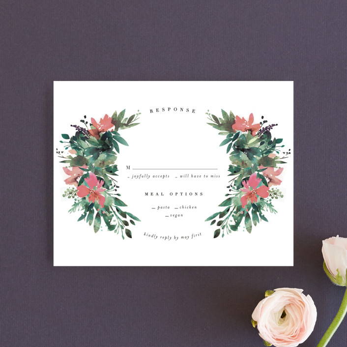 """Painted Laurel"" - Rustic Rsvp Cards in Peach by Lori Wemple."