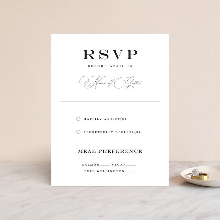 """""""Grand Bloom"""" - Rsvp Cards in Mauve by Bonjour Paper."""