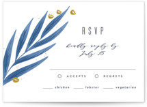 This is a blue rsvp card by Joanna Griffin called Paradise with standard printing on signature in standard.
