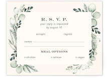 This is a green rsvp card by Petra Kern called Gentle Greens with standard printing on signature in standard.