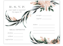 This is a green rsvp card by Petra Kern called Maya Rustica with standard printing on signature in standard.