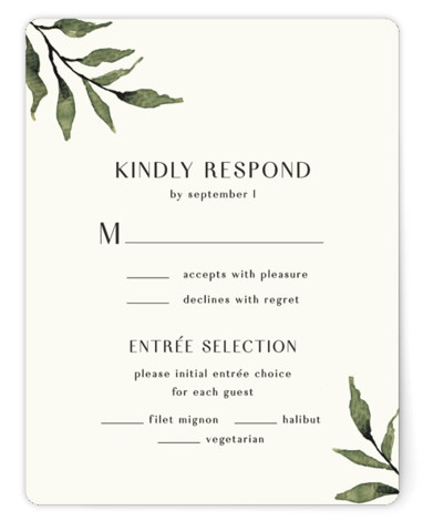 This is a botanical, green RSVP Cards by Chris Griffith called Rural Romance with Standard printing on Signature in Card Flat Card format. Rustic personally hand painted watercolor leaves and a simple monogram and type define this invite