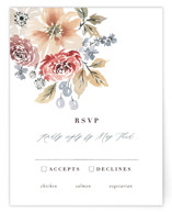 This is a red rsvp card by Wildfield Paper Co. called Wildflower Garden with standard printing on signature in standard.