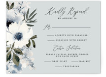 This is a blue rsvp card by Chris Griffith called Nantucket Romance with standard printing on signature in standard.