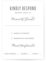 This is a grey rsvp card by Bonjour Paper called Midnight Blooms with standard printing on signature in standard.