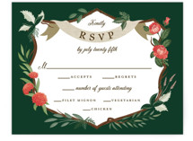 This is a green rsvp card by Paper Sun Studio called Nature's Crest with standard printing on signature in standard.