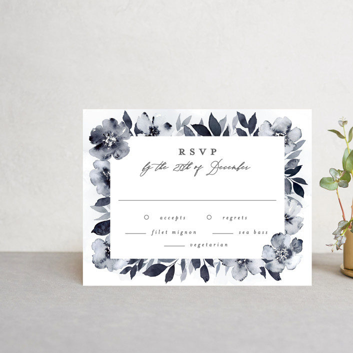 """""""Fancifully"""" - Rsvp Cards in Navy by Everett Paper Goods."""