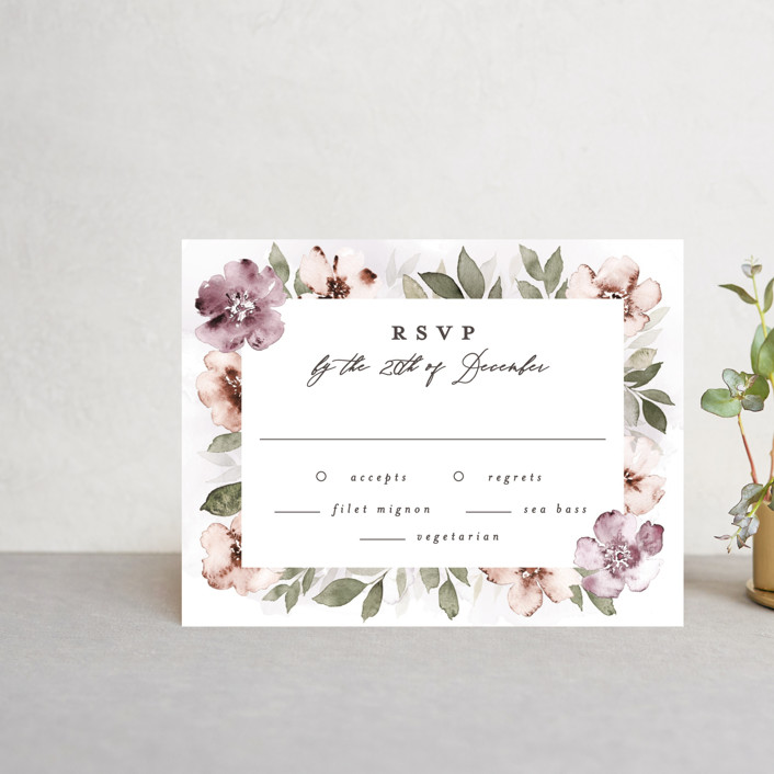 """""""Fancifully"""" - Rsvp Cards in Dust Mauve by Everett Paper Goods."""