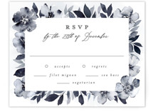 This is a blue rsvp card by Everett Paper Goods called Fancifully with standard printing on signature in standard.