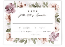 This is a purple rsvp card by Everett Paper Goods called Fancifully with standard printing on signature in standard.