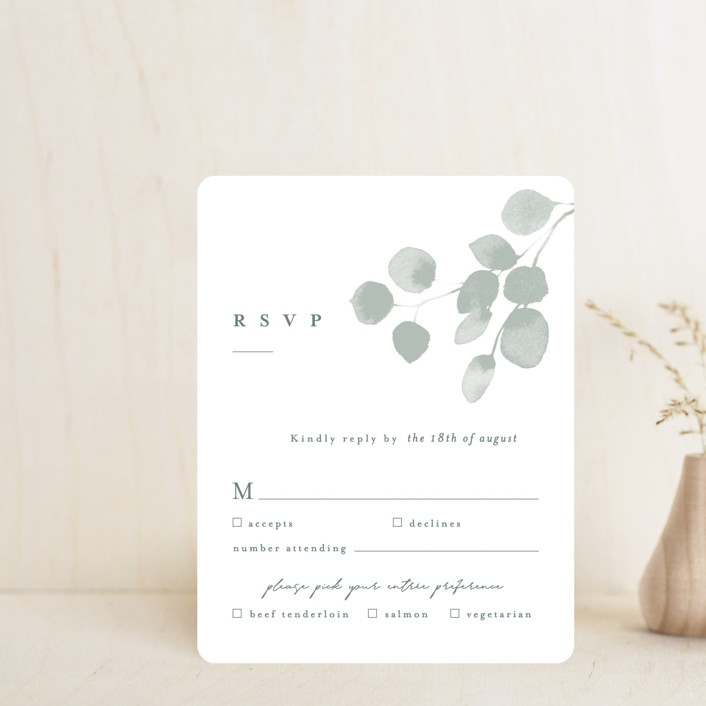 """""""Silver Dollar Eucalyptus"""" - Rsvp Cards in Silver Dollar by Shannon Chen."""