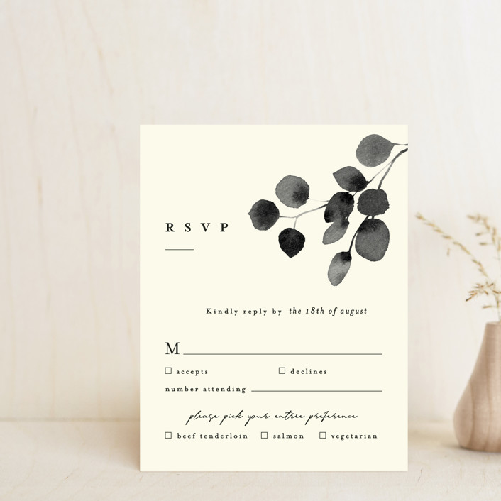"""Silver Dollar Eucalyptus"" - Rsvp Cards in Ivory by Four Wet Feet Studio."