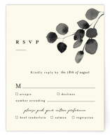 This is a beige rsvp card by Four Wet Feet Studio called Silver Dollar Eucalyptus with standard printing on signature in standard.