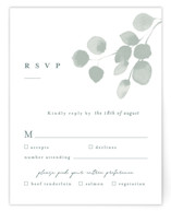 This is a green rsvp card by Shannon Chen called Silver Dollar Eucalyptus with standard printing on signature in standard.