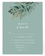 This is a black rsvp card by Alethea and Ruth called Forest Crest with standard printing on signature in standard.