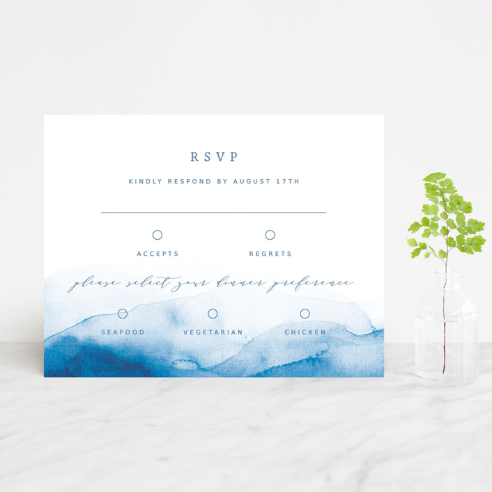 """Watercolor waves"" - Rsvp Cards in Ocean by Yuliya Evseeva."