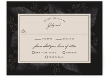 This is a purple rsvp card by Susan Moyal called Midnight Botanicals with standard printing on signature in standard.