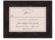 This is a red rsvp card by Susan Moyal called Midnight Botanicals with standard printing on signature in standard.