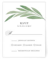 This is a green rsvp card by Olivia Raufman called Garden Square with standard printing on signature in standard.