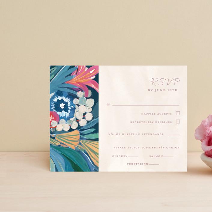 """""""Floral Burst"""" - Rsvp Cards in Ocean by Morgan Ramberg."""