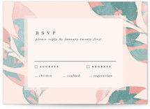 This is a green rsvp card by Creo Study called Boho botanics with standard printing on signature in standard.