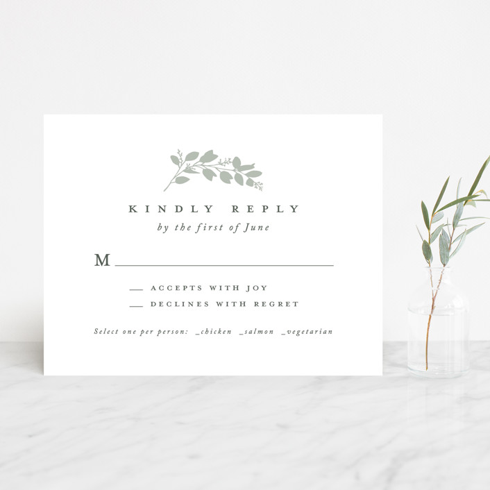 """Falling Branch"" - Rsvp Cards in Eucalyptus by Amy Kross."