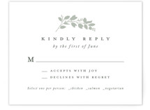 This is a green rsvp card by Amy Kross called Falling Branch with standard printing on signature in standard.