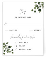 This is a white rsvp card by Anupama called green rush with standard printing on signature in standard.