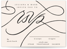 This is a beige rsvp card by Erin L. Wilson called Fountain Pen with standard printing on signature in standard.