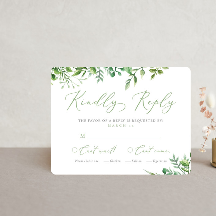 """""""Bright & Green"""" - Rsvp Cards in Spring by Amanda Day."""