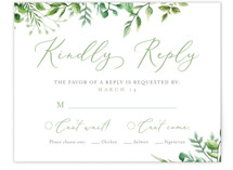 This is a green rsvp card by Amanda Day called Bright & Green with standard printing on signature in standard.