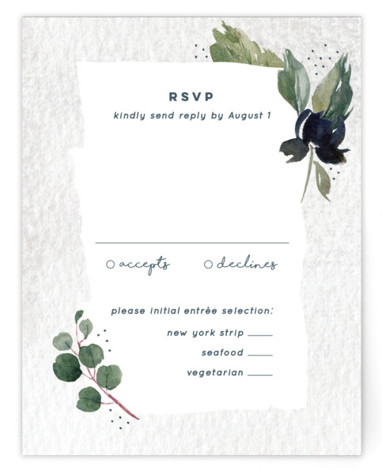 This is a botanical, green RSVP Cards by Palm Bridal called Euca On A Whim with Standard printing on Signature in Card Flat Card format. Inspired by romance and nature, this watercolor invitation incorporates eucalyptus and other fresh greens with ...