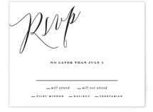 This is a white rsvp card by Roxy Cervantes called Signed with standard printing on signature in standard.