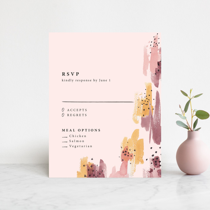 """Mod Brush"" - Modern Rsvp Cards in Blush by Lisa Fee Paura."